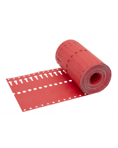 Sleufetiket Tyvek 105 g / 14 x 1,27 cm rood